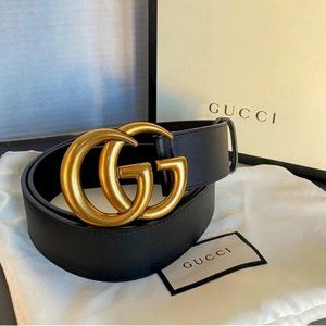 ☀Gucci Black Leather Gold Double;GG ''''Belt 90cm